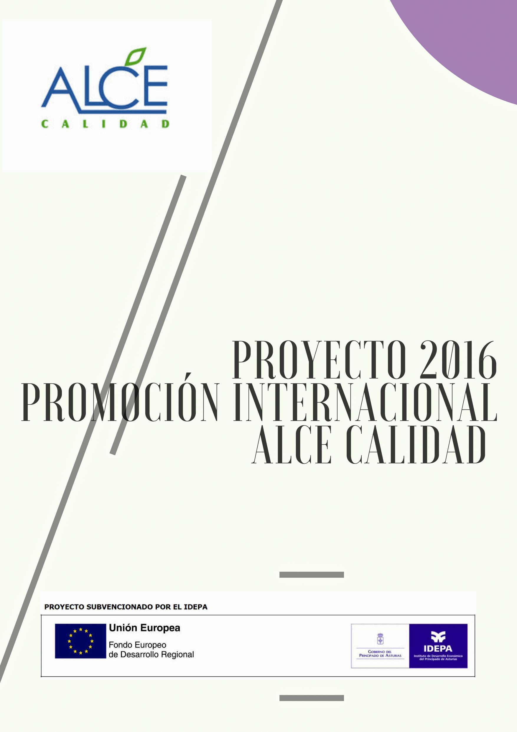 PROYECTO 2016 PROMOCIÓN INTERNACIONAL ALCE CALIDAD